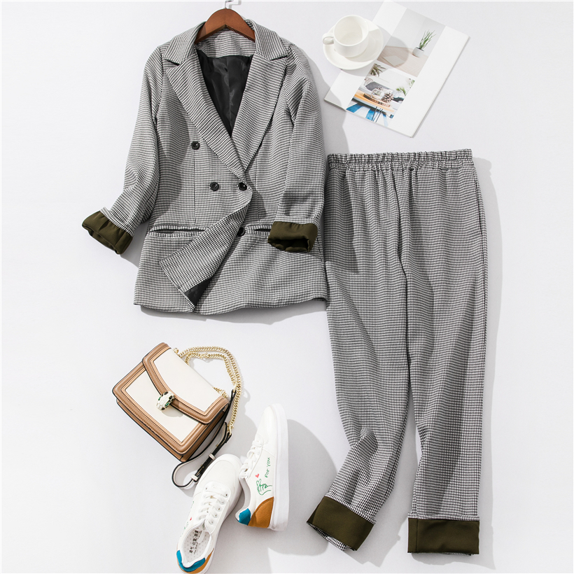 Pants Suit Women 2019 Office Outfits Patchwork Cuffed Sleeve Plaid Blazer Jacket & Trousers Suits Women 2 Piece Set Women's Suit