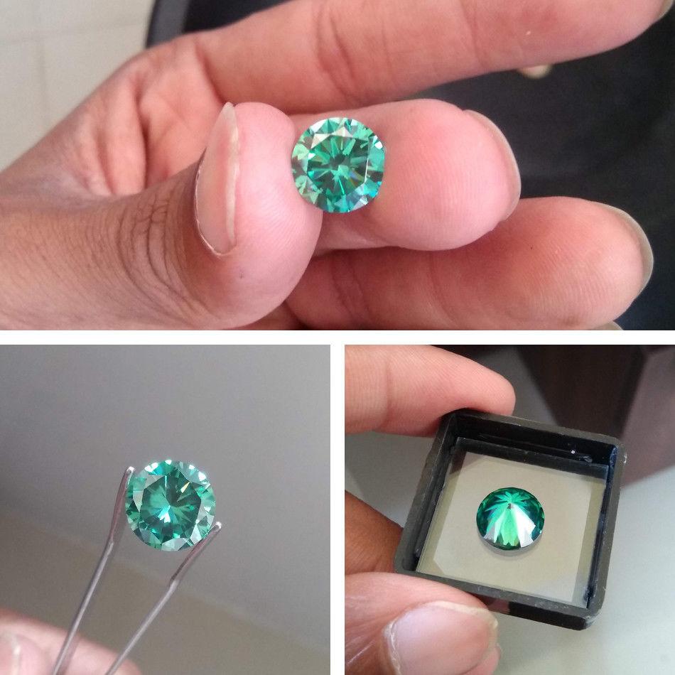 Loose Stones Positive VVS1 Green-Moissanite Excellent-Cut Grade-Test 4mm Round-Cut Ef-Color
