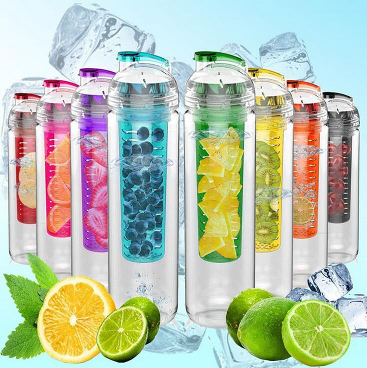 2017 caliente 700 ml ciclismo deporte lemon jugo de agua infusor fruta infusión