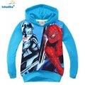 2017 outono nova moda casaco meninos spiderman batman com capuz crianças roupas de desenhos animados das crianças das crianças clothing outerwear t1852