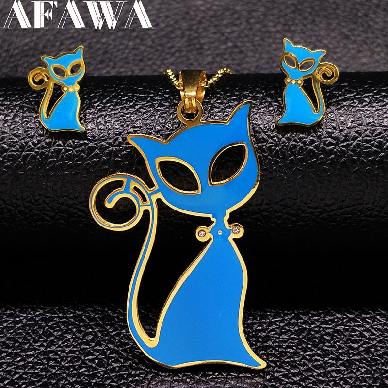 2019 Stainless Steel Cat Jewellery Set for Girl Pokemon Blue Enamel Jewelry Set Kids Jewellery for Girls bijoux enfant S176199