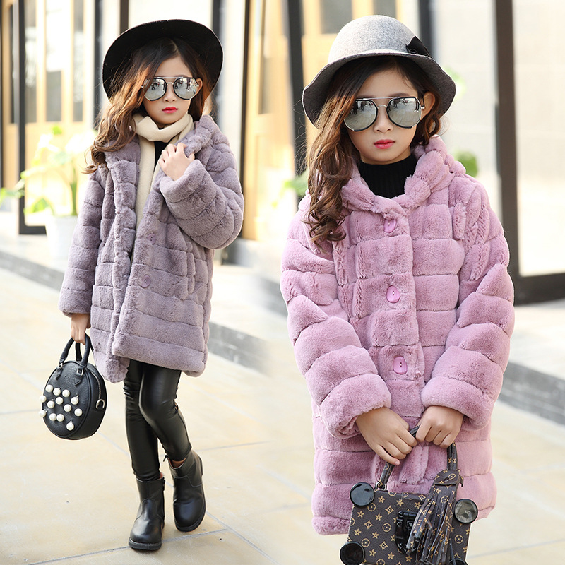 Girl's Winter Imitation Fur Coat 2017 Girls Thick Fluff Warm Coat Children Baby Clothes Kid Thick Plus Velvet Coat Wholesale new winter baby hat real fur pom pom knitted toddler kid thick warm double raccoon fur balls beanies boys girls bonnet gorros f3