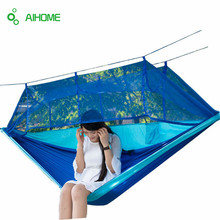 2016 Newest Fashion Handy Hammock Parachute Fabric Mosquito Net Hammock Single Person Portable Indoor Outdoor Camping Hangmat