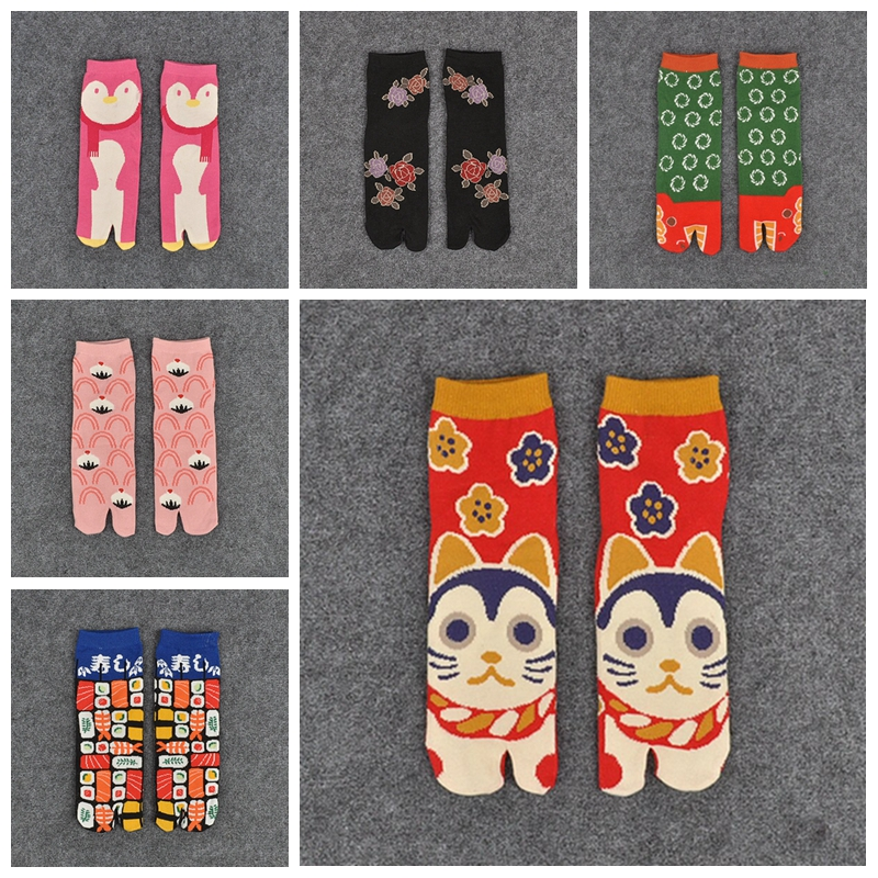 1 Pair Womens Fashion Short Print   Socks   Cotton Tabi Split Toe   Socks   Geta Kimono Flip Flop CARP Koi Samurai XLZ9450