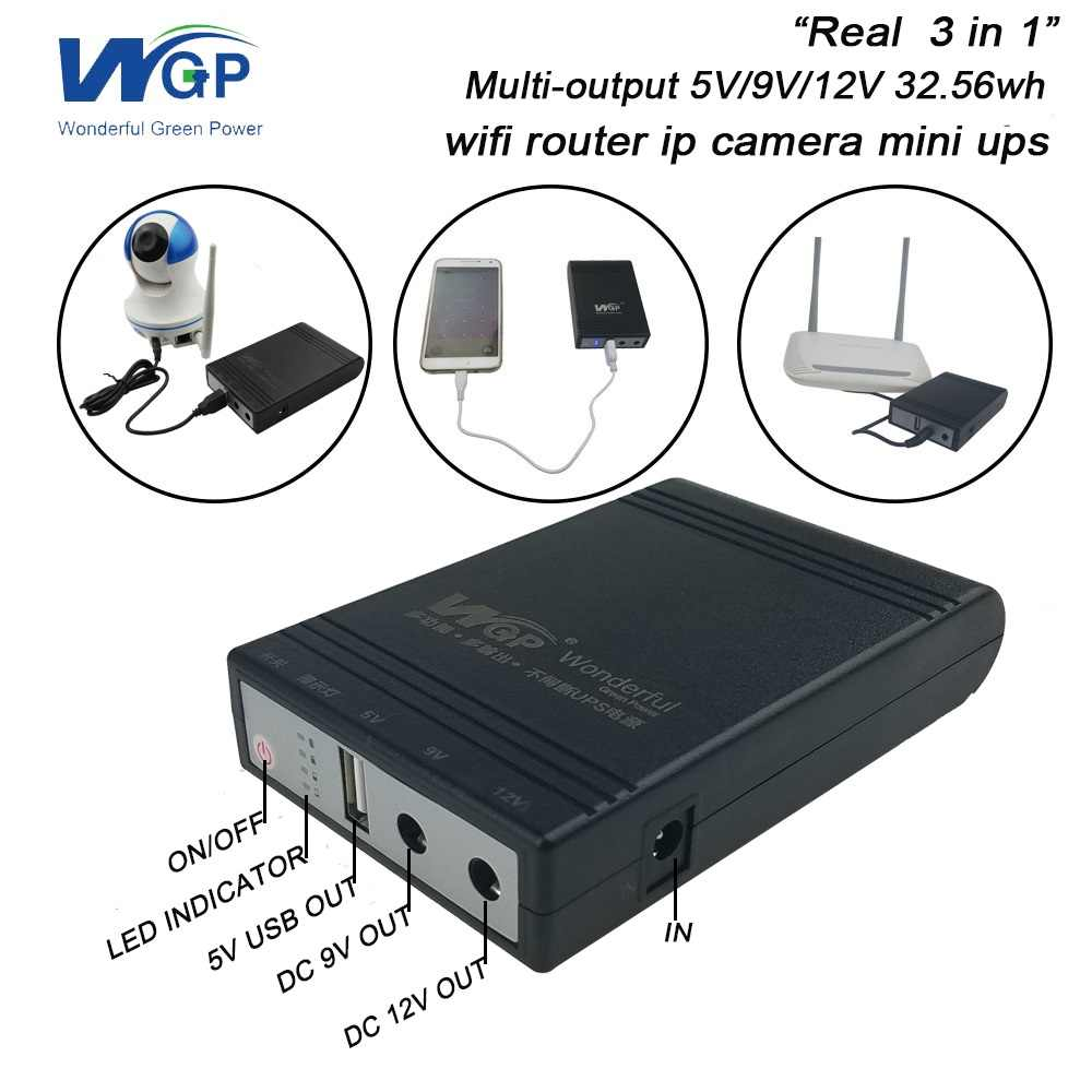 Wifi маршрутизатор Ip камера UPS батарея резервного питания источник бесперебойного питания DC портативный 5 в 9 в 12 В 1A мини блок бесперебойного питания для CCTV