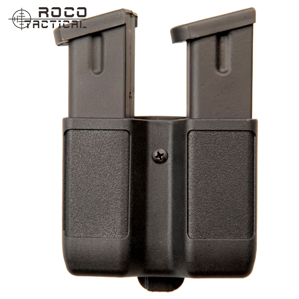ROCOTACTICAL Polymer Universal Military Double Magazine Pouch Bag Military Belt Double Mag Case Double Stack Matt Black peavey ground stack kit black