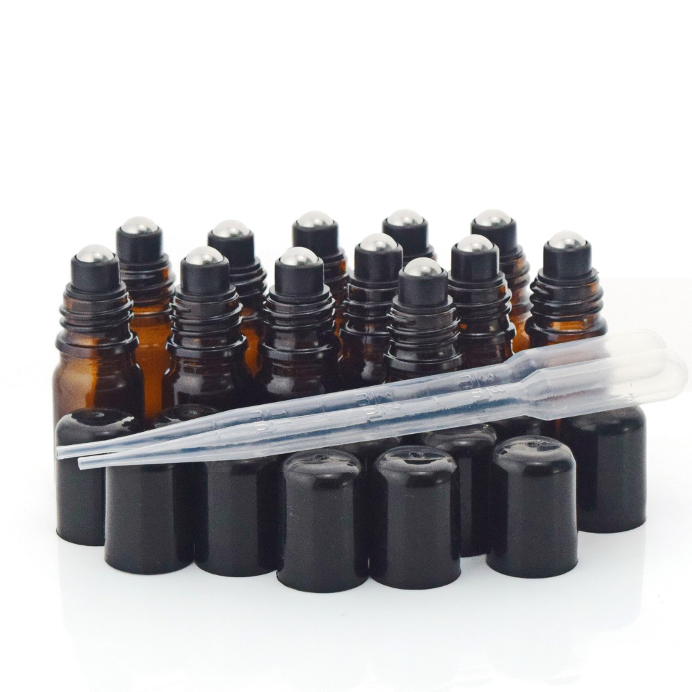 купить 12 X 5ml Amber Glass Bottles Roll on Vials with stainless steel roller ball black cap lid for perfume essential oil aromatherapy по цене 744.55 рублей