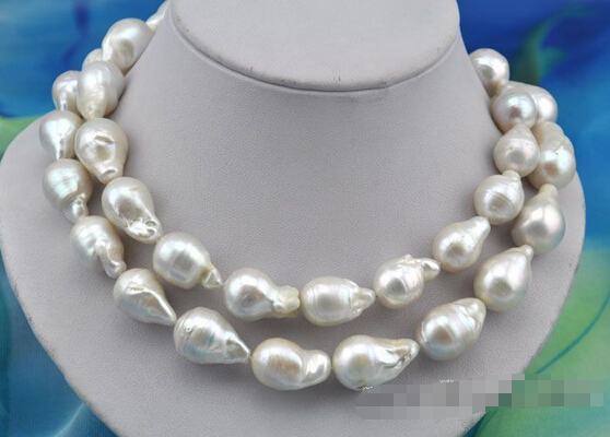"""HOT## Wholesale FREE SHIPPING 33""""16x25mm baroque white reborn keshi pearl necklace"""