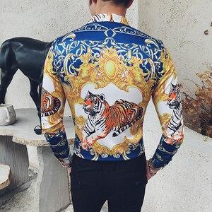 Image 3 - Luxe or Animal imprimé chemise hommes à manches longues 2019 automne fête Club chemise hommes DJ chanteur Camisa Homem bal Camisa Masculina