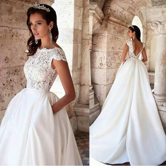 Princess Ced Sleeves Boat Neck Wedding Dress Low Back Lace And Satin Gown With Pockets