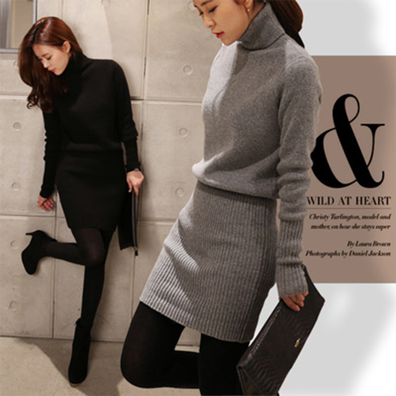 Sweater Dress 2018 Autumn Winter New High Collar Warm Long sleeved Dress Thick Knitted Sweater Wrap Hip Show Thin Base Sweater
