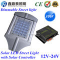 Luz de Rua LEVOU 12 V 24 V 30 W Lâmpada com digital-dimming PWM Inteligente Controlador Solar para a Energia Solar Sistema de Iluminação de Rua de energia
