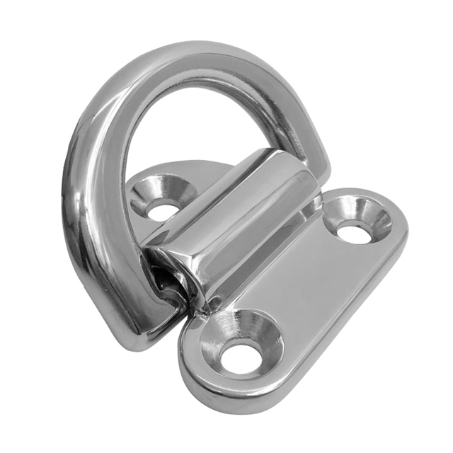 1 Pcs 1.7″x 1.6″ Mirror Polish 316 Stainless Steel Boat Folding Pad Eye Lashing D Ring Tie Down Cleat For Yacht RV Truck Etc