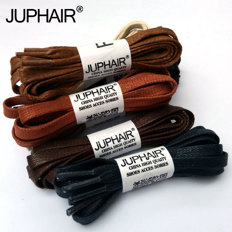 JUP 1-12 Pair Coffee Flat Waxed Colored Shoelaces Width Unisex Shoelace Cable 100% Cotton Cheap Shoelaces Colorful Unisex Laces