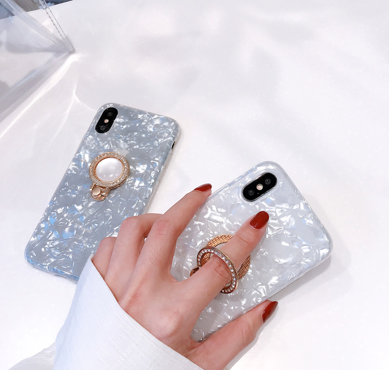 Mr.orange Luxury Flash Diamond Ring Shell for Apple iphone X Mobile Shell iPhone7plus/8/6s All-inclusive Bracket Women Silicone