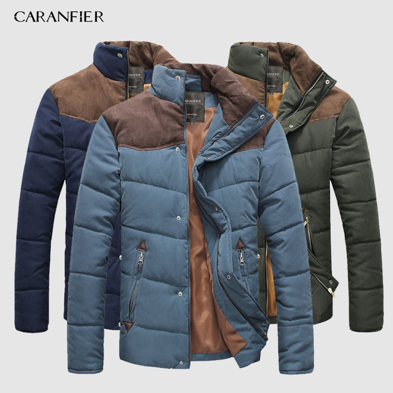 CARANFIER 2019 Brand Men   Parka   Winter Thick Collar Jacket Smart Casual Cotton Coat England Style Breathable Warm Male Jackets