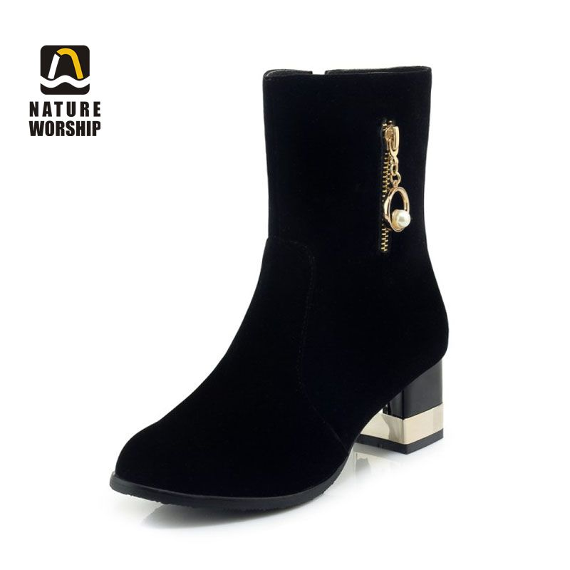 5d7e030c0d US $32.12 49% OFF|Nature Worship Fashion Winter Ankle Short Boots Square  High Heels Flcok Women Shoes Warm Fleeces Insole Zipper Solid Big Size-in  ...