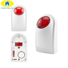 Golden Security 433mhz Free shipping Wireless outdoor waterproof Flashing siren sensor Alarm for GSM home security alarm system
