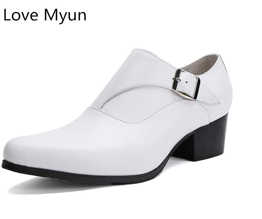 New mens genuine leather dress shoes high heels pointed toe height increase fashion wedding shoes white