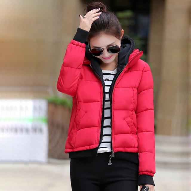 2017 Nueva llegada de las mujeres falso de dos piezas set 4 colores de algodón de empalme de la moda de las mujeres párrafo corto chaquetas de invierno cálido abrigos