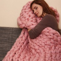 Autumn Winter New Acrylic Chunky Knit Blanket Multicolor Rough Wool Hand Woven Blanket Sofa Bed Blanket
