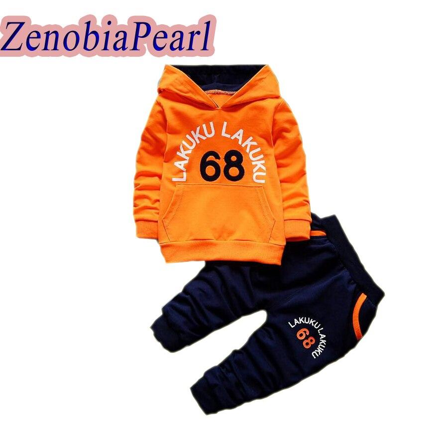 ZENOBIAPEARL Boys Sets Spring Autumn Boys Tracksuits Kids Hoodies Sport Suits Kids Sweatshirts +Pants Children Clothing Set