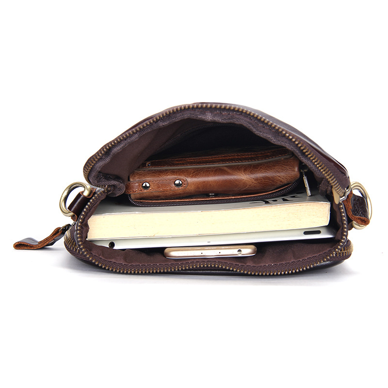 Bolsa para teléfono móvil de viaje de cuero genuino de calidad de lujo para hombre con tarjetero de bolsillo con cremallera para hombre - 3