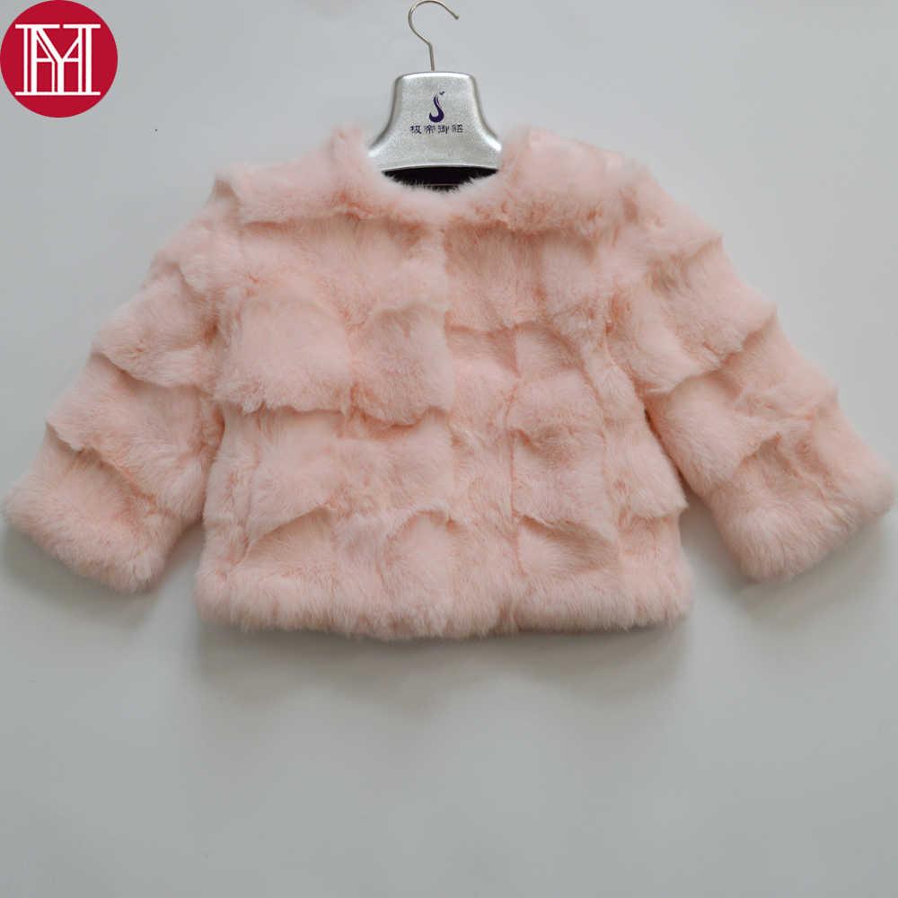 2019 New Full Bóp 100% Lông Tự Nhiên Áo Khoác Nữ Mùa Đông Ấm Thực Lông Thỏ Áo Khoác Cổ Tròn Nữ Ngắn Thỏ bộ lông Outerwears
