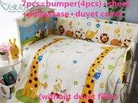 Discount! 6/7pcs Cotton Baby Cot Bedding Set Newborn Cartoon Crib Bedding Detachable Quilt Cover Cot Bed Sheet,120*60/120*70cm