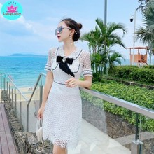 2019 summer Korean version of the new ladies temperament small man lace hollow waist dress female