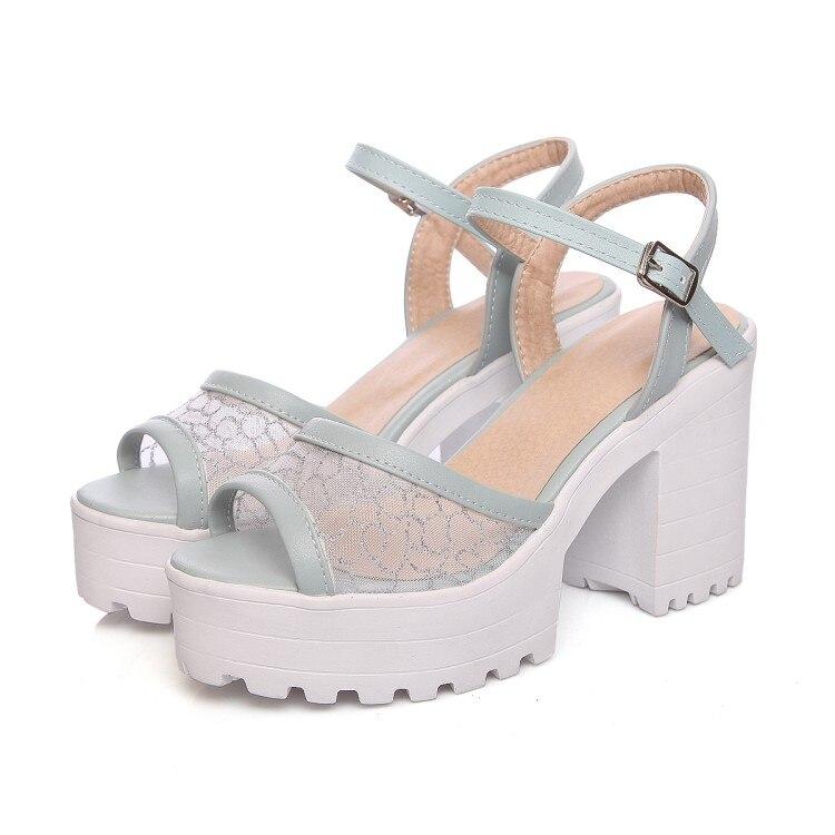 ФОТО Tenis Feminino New Big Size Summer Sandals Women 2017 Female Thick Heel High Heels Peep Toe Shoes Sandalias Plataforma 9950-6