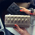 Pu Women Black Rivet Long Wallet Casual Solid Hasp Purse Wristlets New Fashion Male Double Cover Clutches Cell Phone Bag