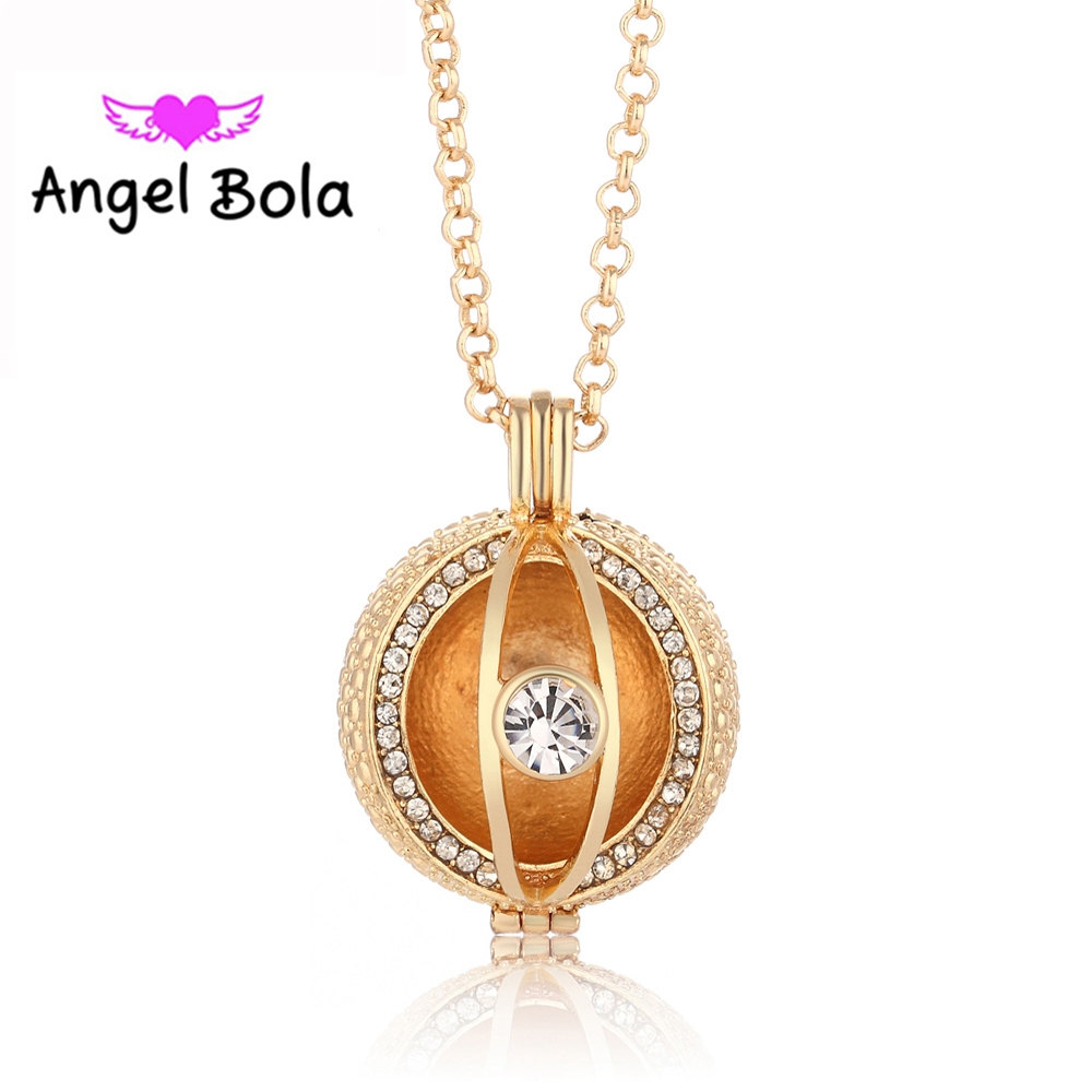 10pcs/Wholesale 4 Color Crystal Angel Bola Cage Essential Oil Pendants Engelsrufer Necklace Angel Ball for Mom Gifts L034