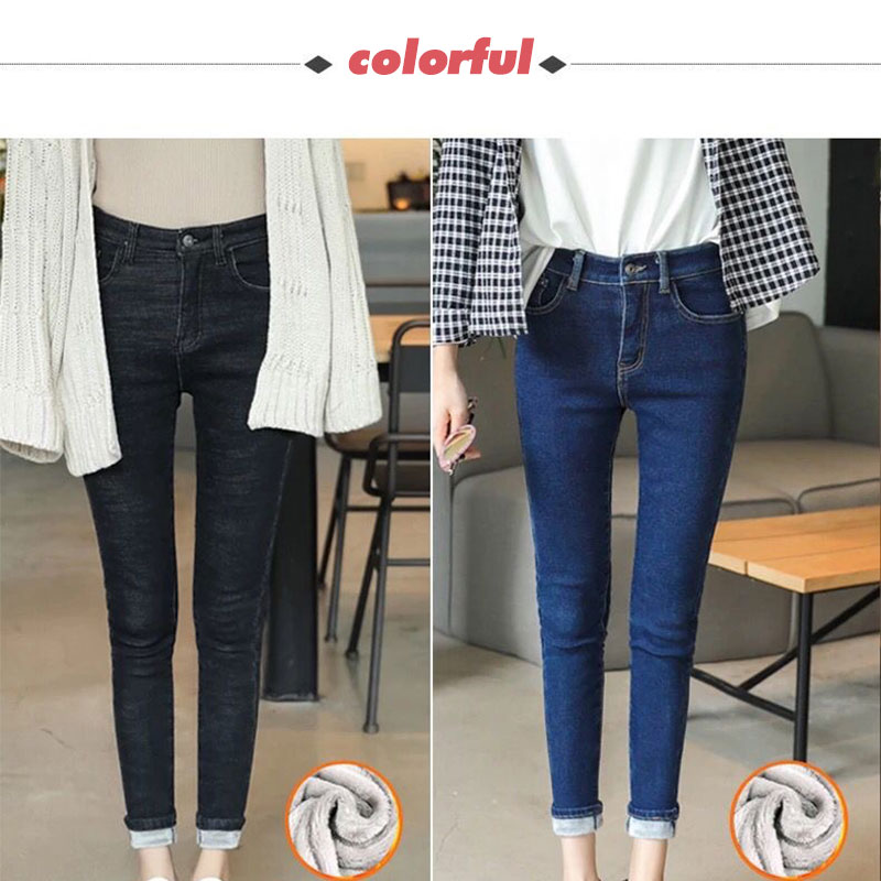 high waist warm jeans for women plus size korean oversized jeans woman skinny long trousers fashion blue pant 2019 winter 5XL