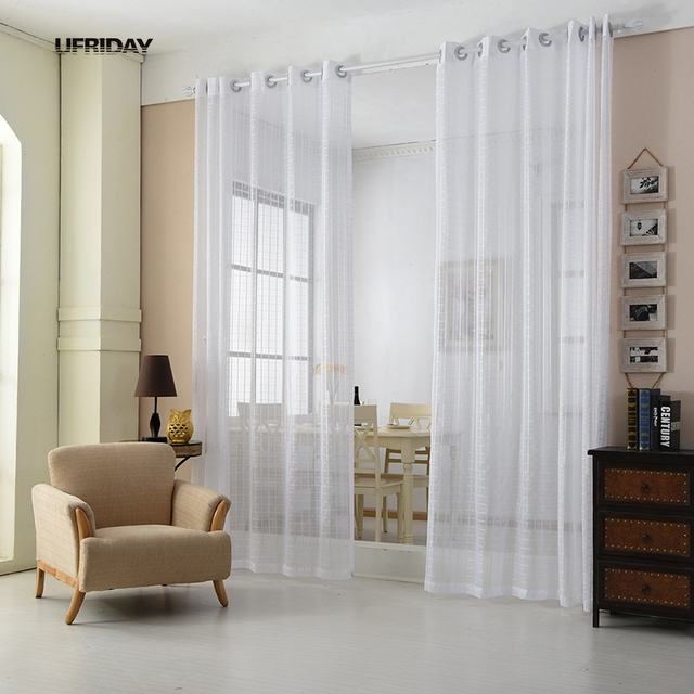 UFRIDAY Modern Window Decoration For Home Sheer Voile Curtains White Plaid Sheers Gauze Tulle Curtain