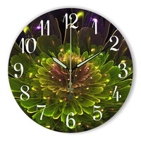 2017 Vintage Digital Large Decorative Wall Clock Modern Design Green Flower Home Decoration Butterfly Watch Wall