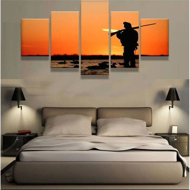 Canvas Paintings Wall Art Home Decor Framework 5 Pieces Duck Hunting End Of  Day Sunset Poster