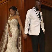Белый смокинг для жениха мужские свадебные костюмы шаль с отворотом