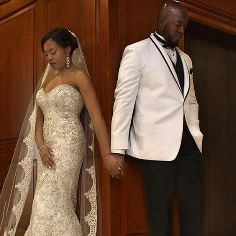 White Groom Tuxedo Men Suits For Wedding Shawl Lapel Slim Fit Terno Masculino Best Man Blazer Custom Made 3Piece Coat Pants Vest