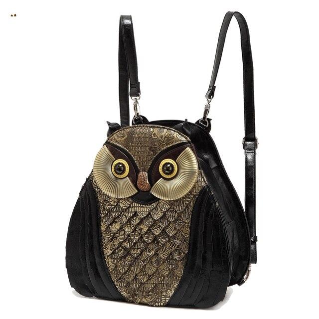 Cute College Owl Leather Shoulder Bag