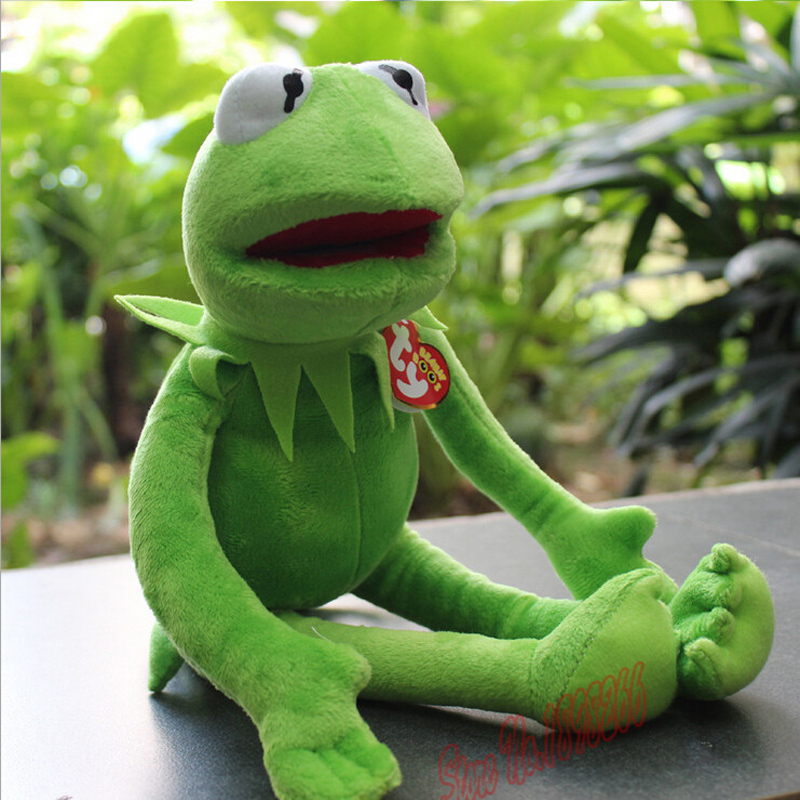 Jualan Panas 14 '' 40cm 2015 Baru Kermit Plush Toys Sesame Street Dolls Animal Kermit Toy Plush Frog Dolls Holiday Gift Free Shipping
