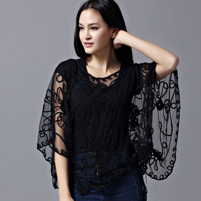 2017 new women's chiffon lace shirt Blusas fashion Loose Hollow Blouse  Lace batwing sleeve Shirt Women Cardigan top 803J 37