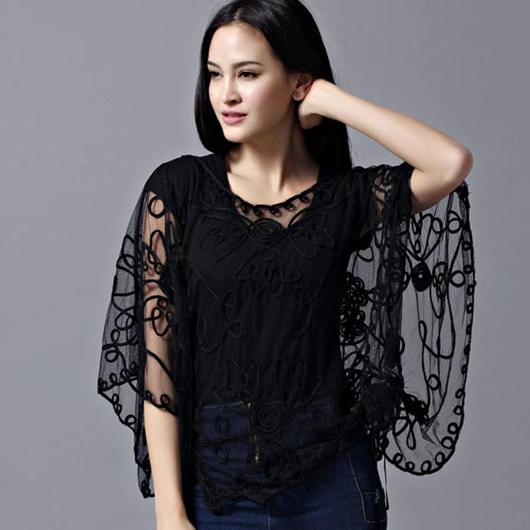 2019 New Women's Chiffon Lace Shirt Blusas Fashion Loose Hollow Blouse  Lace Batwing Sleeve Shirt Women Cardigan Top 803J 37