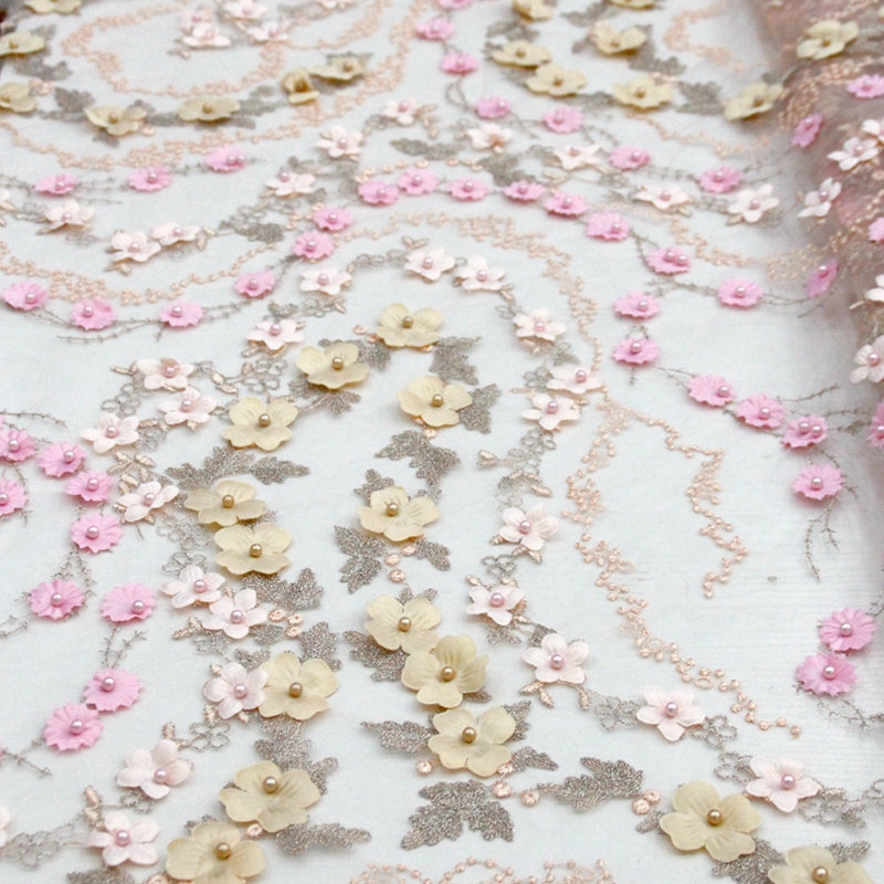Blush Pink Lace Fabric 2018 Gorgeous Nigerian Lace Fabric 3D Flower French Net Lace High Quality