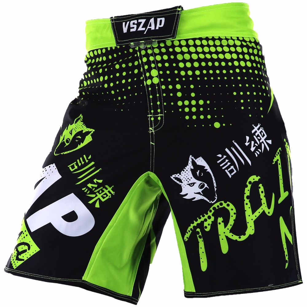 VSZAP Men's Muay Thai Boxing Shorts Printing MMA Shorts Fight Grappling Short Kick Gel Thai Boxing Shorts MMA Boxe Green цена