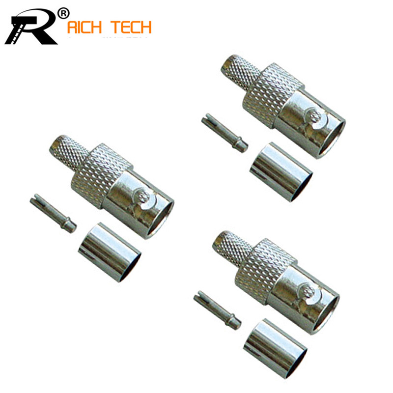 BNC FEMALE CRIMP Connector New BNC female crimp straight for RG58 RG59 RG6 RG174 RF Coax Adapter connector ...