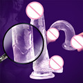 Superior Suave Geléia Vibrador Realista Pênis de Cristal Copo Forte Sucção Strapon Dildo Pica Sex Toys Para A Mulher Produtos Sexo