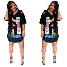 2019 Summer African Dress Women Wear V-neck Half-Sleeve Cartoon Letter-printed Slim Loose Stylish Classic Knee-length T-shirt