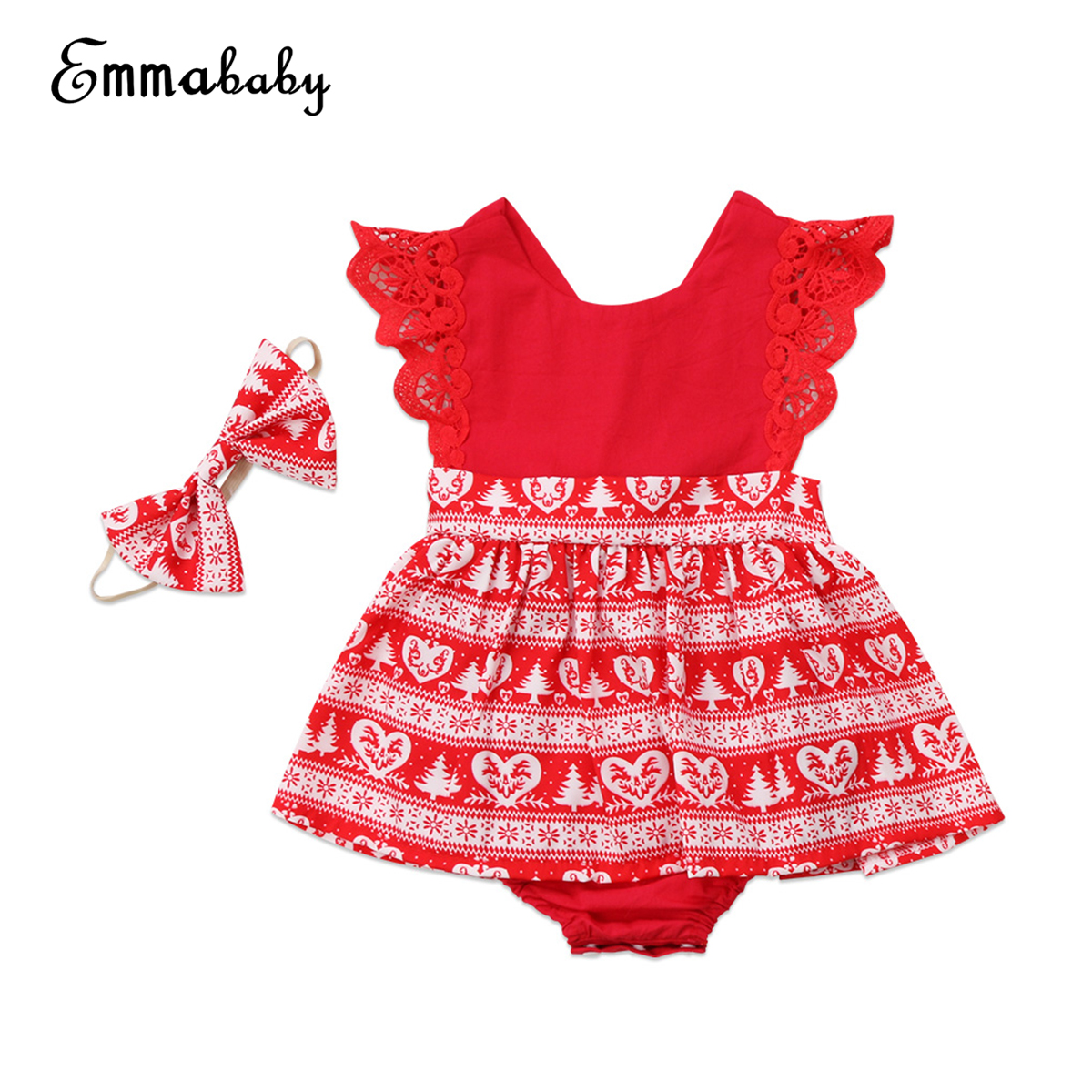 Baby Girls Christmas Romper Dress Headband Toodler Baby Girls Kids Xmas Lace Fancy Rompers Dresses Party Xmas 2 Pcs Clothing