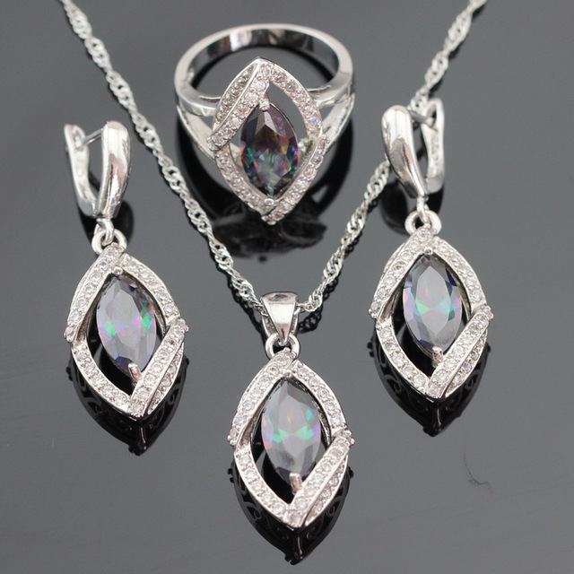Marquise Multicolor Rainbow Created Topaz Silver Color Jewelry Sets Necklace Pendant Earrings Rings For Women Free Gift Box